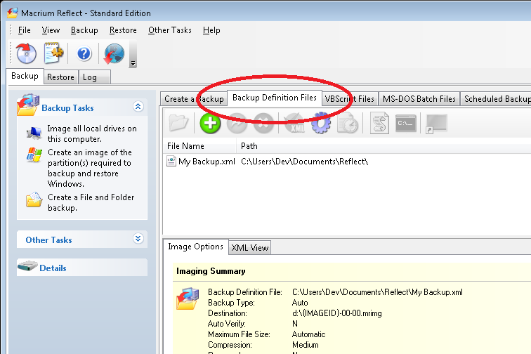 In This Instance, There Is One Saved XML Definitions File  Calledu0027MyBackup.xmlu0027 Which In This Case Contains The Configuration Required  To Back Up The U0027C ...