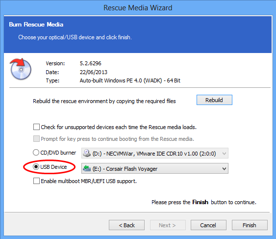How to create USB rescue media