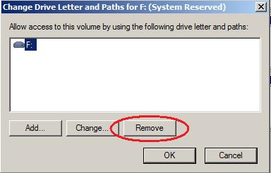 How to remove a drive letter from the - MS System Reserved partition